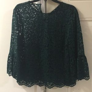 New Zara Lace Green Top With Flared Sleeves